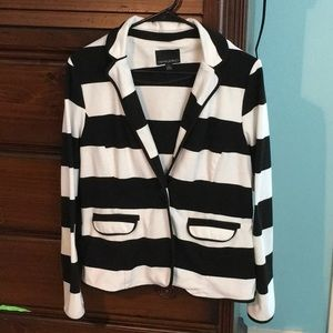 Cynthia Rowley black and white striped blazer